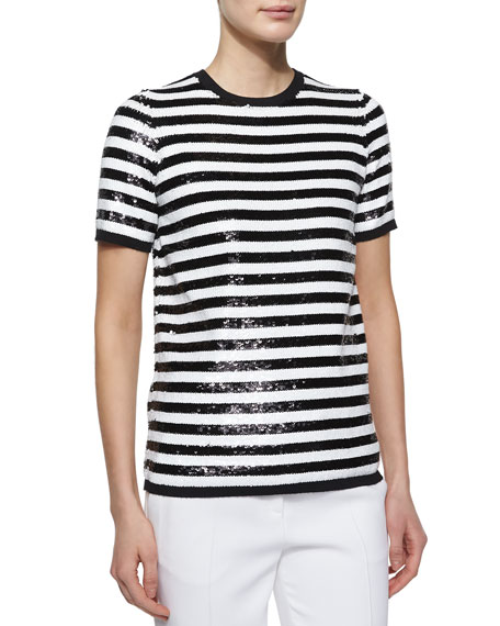 Michael Kors Collection Allover Sequin Striped Tee