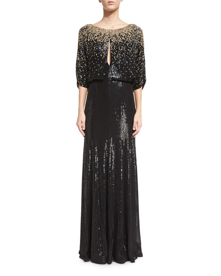 3/4-Sleeve Round-Neck Embellished Gown, Black/Gold