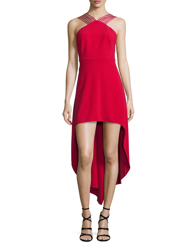 1183e07f10 Halston Heritage Sleeveless Strappy High-Low Dress