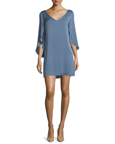 Split-Sleeve Silk Crepe Dress, Steel Blue