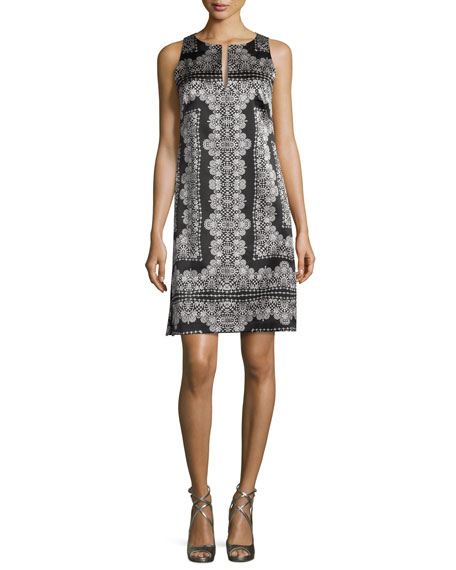 Nanette Lepore Sleeveless Silk Lace-Print Mini Dress, Black/White
