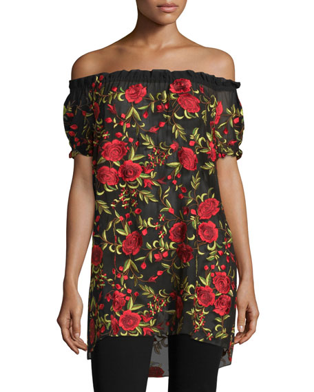 Off-The-Shoulder Rose Embroidered Peasant Top