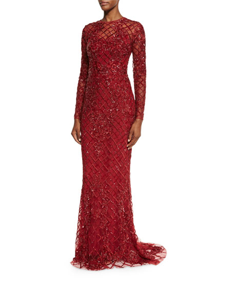Long-Sleeve Illusion Lattice Gown, Scarlet Red