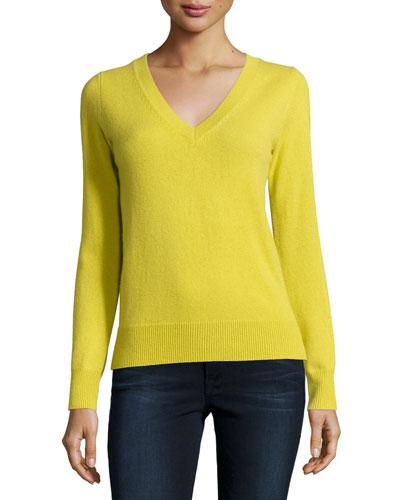 Long-Sleeve Deep V-Neck Cashmere Top, Women's