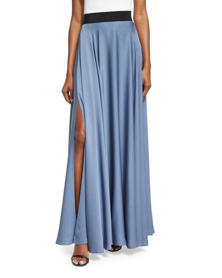 Silk A-line Maxi Skirt, Denim
