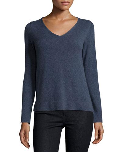 V-Neck Ribbed Modern Cashmere Pullover