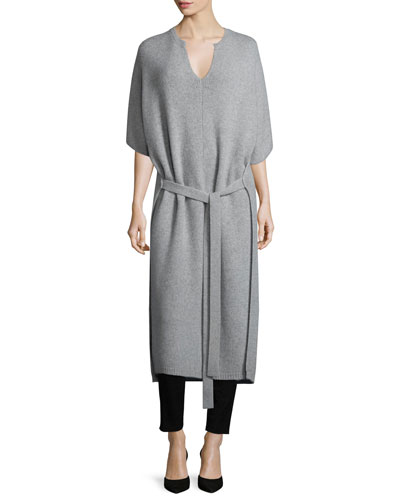 Felicie Long Tie-Front Cashmere Sweater, Marble
