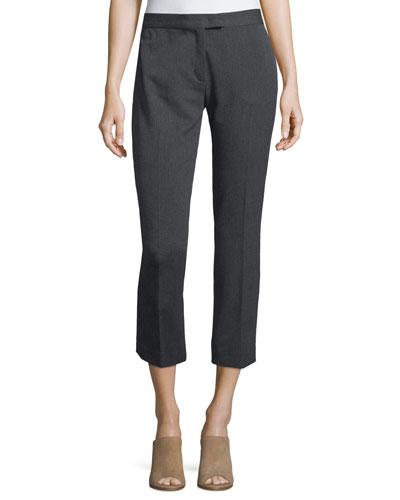 Herringbone Stretch Ankle Pants, Dark Gray
