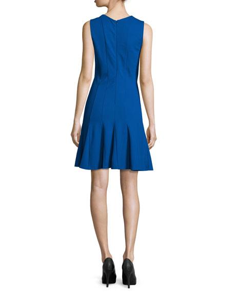 Amber Sleeveless Godet Dress, Blue