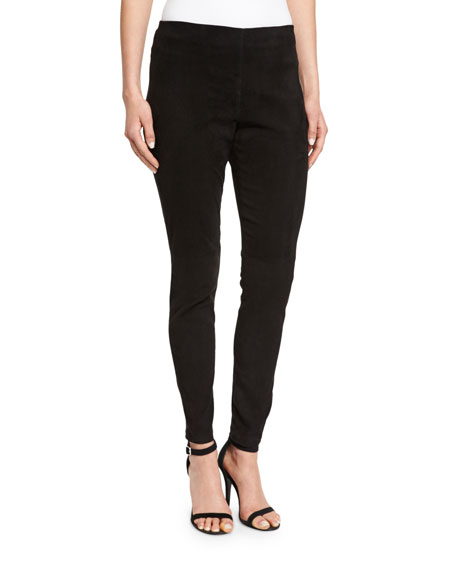 Eileen Fisher Stretch-Suede Ankle Leggings, Black