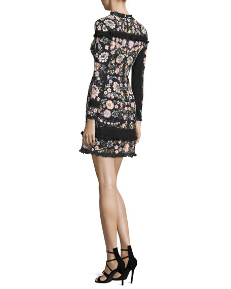 Needle & Thread Long-Sleeve Floral Embellished Mini Dress, Black