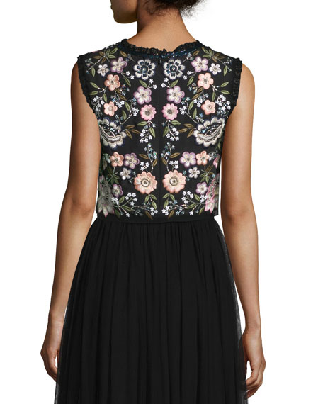 Sleeveless Embroidered Crop Top, Black