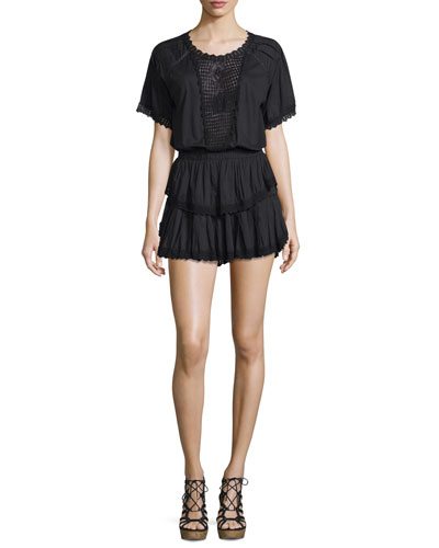 Carla Embroidered-Inset Ruffled Mini Dress
