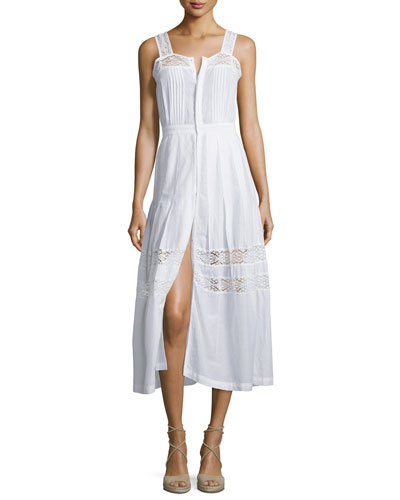 Eve Button-Down Dress W/Lace-Insets
