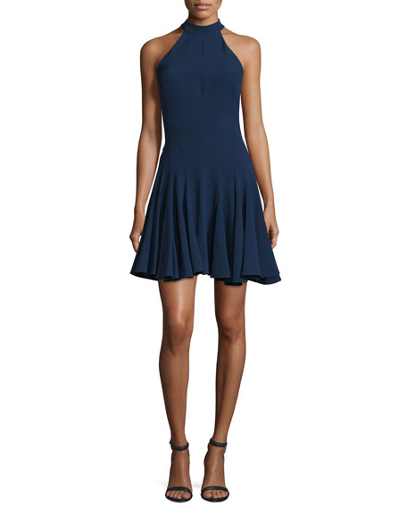 Halter-Neck Fit-&-Flare Cocktail Dress, Navy