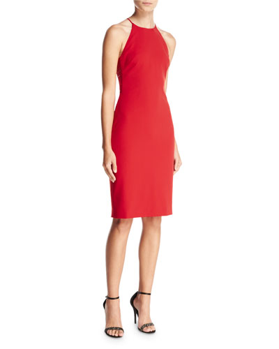 Sleeveless Halter-Neck Sheath Dress, Red