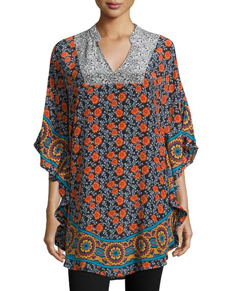 Belle Floral-Print Flutter Tunic, Floral/Multi, Plus Size