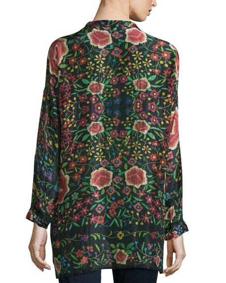 Emby Button-Front Floral-Print Blouse, Black/Multi, Petite