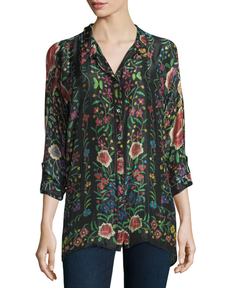 Johnny Was Emby Button-Front Floral-Print Blouse, Black/Multi,