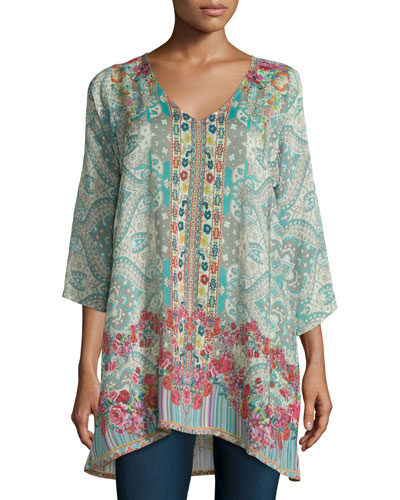 Tappa 3/4-Sleeve Mixed-Print Tunic, Multi Colors, Plus Size