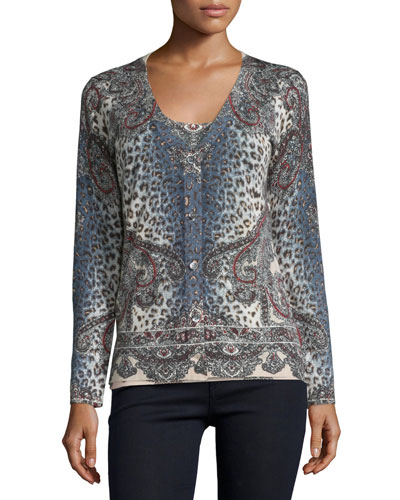 Superfine Bohemian Leopard Button-Front Cardigan, Bone Multi
