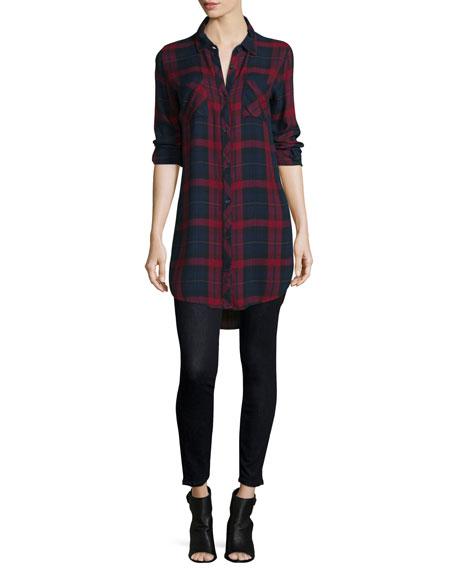 Button-Front Plaid Boyfriend Long Shirt, Red/Multi, Plus Size