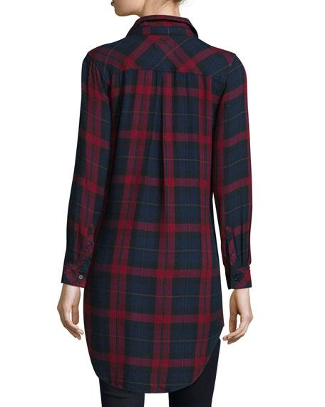 Button-Front Plaid Boyfriend Long Shirt, Red/Multi