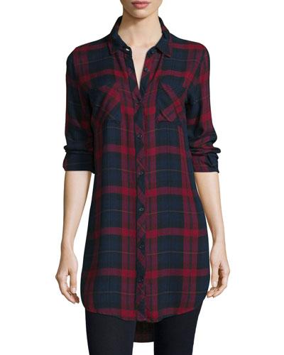 Button-Front Plaid Boyfriend Long Shirt, Red/Multi, Petite