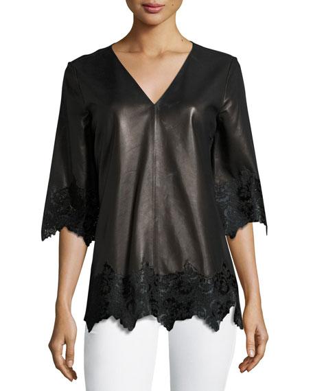 Neiman Marcus Half-Sleeve Leather Top w/ Calf Hair
