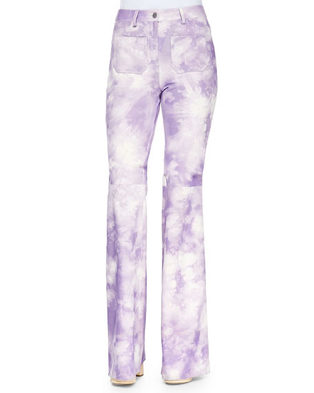 Tie-Dye Leather Bell-Bottom Pants, Wisteria
