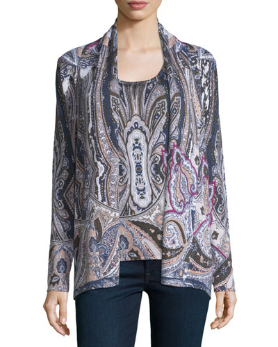 Regal Paisley Open Cashmere Cardigan