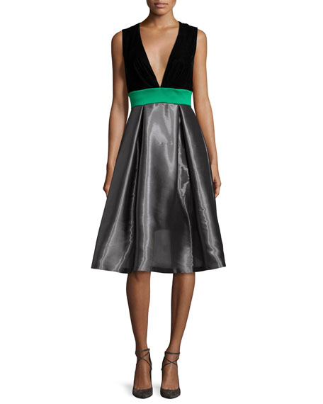 Sachin & Babi Sleeveless Colorblock Combo Dress, Moonstone