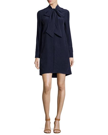 Leema Tie-Neck Silk Shift Dress, Peacoat
