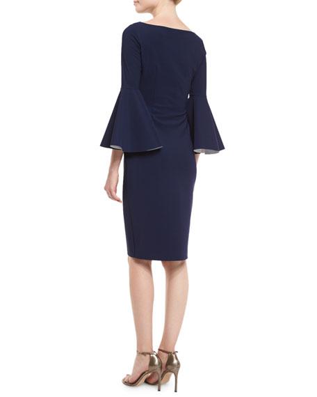 Bell-Sleeve Midi Cocktail Dress, Navy