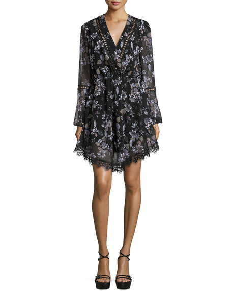 Lace-Inset Floral-Print Georgette Surplice Dress