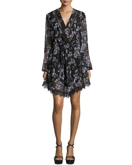 Lace-Inset Floral-Print Georgette Surplice Dress