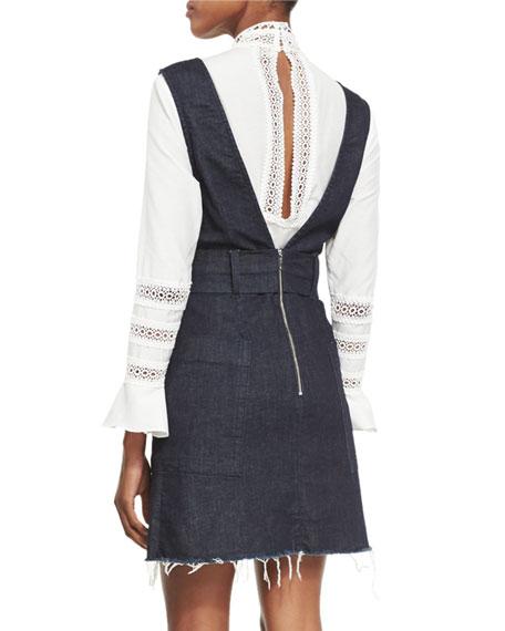 Belted Frayed-Hem Denim Pinafore Dress, Indigo