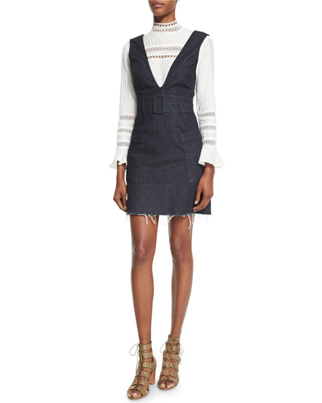 Belted Frayed-Hem Denim Pinafore Dress, Indigo