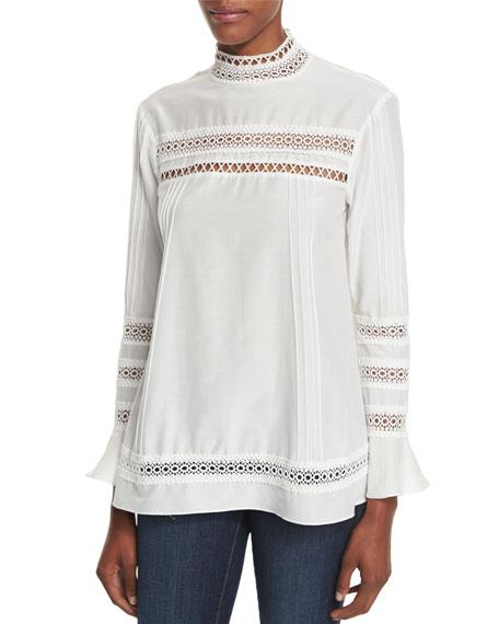 n/nicholas Belted Frayed-Hem Denim Pinafore Dress & Lace-Trim