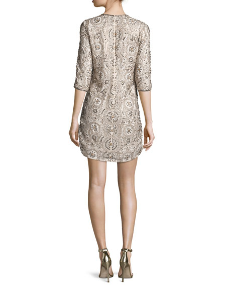 3/4-Sleeve Embellished Shift Dress, Blush