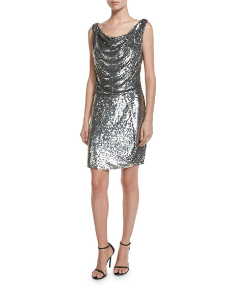 Parker Sleeveless Sequined Cowl Sheath Dress, Antique Silver