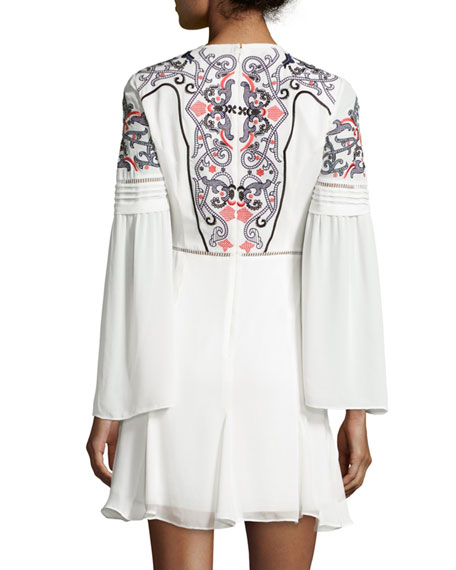 Milly Embroidered Long-Sleeve Mini Dress, Ivory