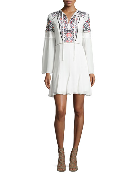 Parker Milly Embroidered Long-Sleeve Mini Dress, Ivory