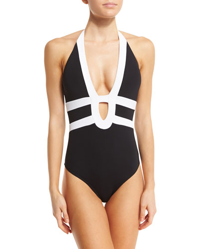 Classique Two-Tone Strappy One-Piece Swimsuit