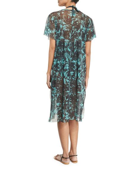 Rose-Print Coverup Midi Dress