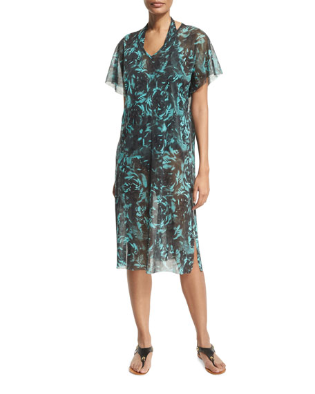 Fuzzi Rose-Print Coverup Midi Dress