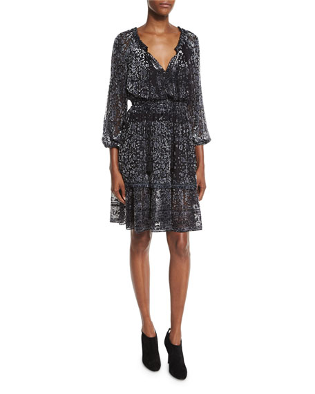 Elie Tahari Olsen 3/4-Sleeve Semisheer Floral-Print Dress, Black