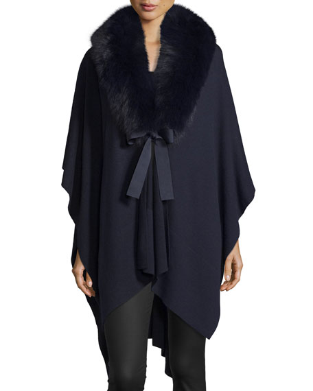 Magaschoni V-Neck Cashmere Wrap w/ Fox Fur Collar,