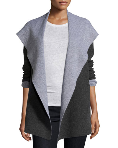 Open Double-Face Hooded Cardigan, Charcoal/Silver