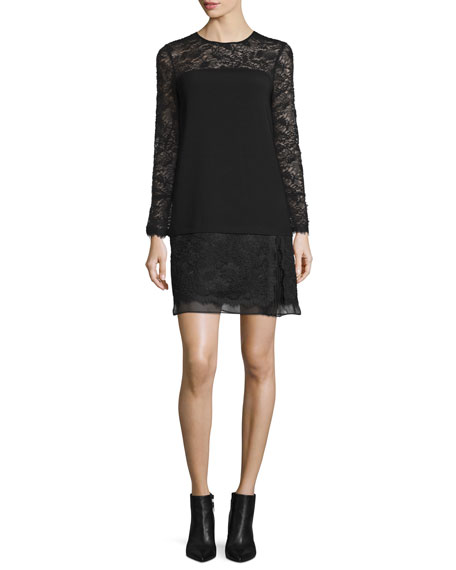 Diane von Furstenberg Lavana Long-Sleeve Lace Shift Dress,
